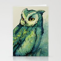 bianca green Stationery Cards featuring Green Owl by Teagan White