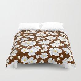 White Boboli Flower - Brown Duvet Cover