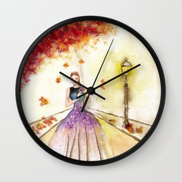 Autumn Girl Watercolor Illustration. Wall Clock
