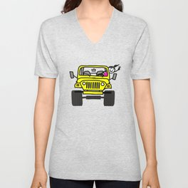 Jeep Wave Girl - Yellow Unisex V-Neck