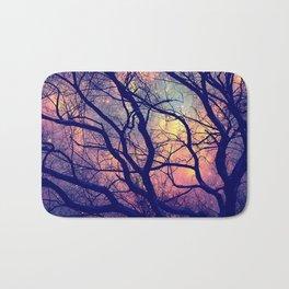 Black Trees Deep Pastels Space Bath Mat