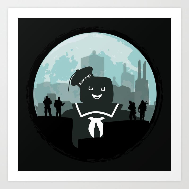 Ghostbusters Versus The Stay Puft Marshmallow Man Art Print by Kamonkey PRN2081246