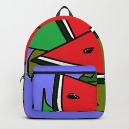 Watermelon with flower and red tile Backpack