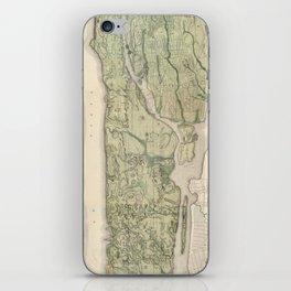 1874 Topographical Atlas of New York City (Manhattan/New Amsterdam) iPhone Skin