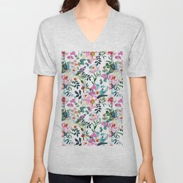 Pink purple green white watercolor bohemian feathers floral Unisex V-Neck