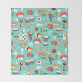 Happy Sushi Throw Blanket