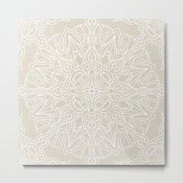 White Lace Mandala on Antique Ivory Linen Background Metal Print