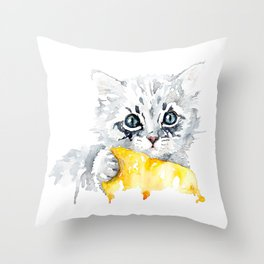 Kitten with a yellow blanket Throw Pillow