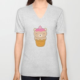 Kawaii Bear Ice Cream Cone Unisex V-Neck