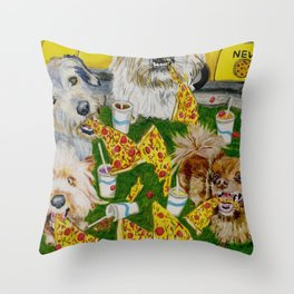 Canines Feast On New York Pizza Throw Pillow