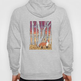 nuthatches and fox in the birch forest Hoody