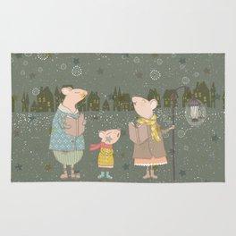 Cute Christmas Mice Family Winter Scene Rug