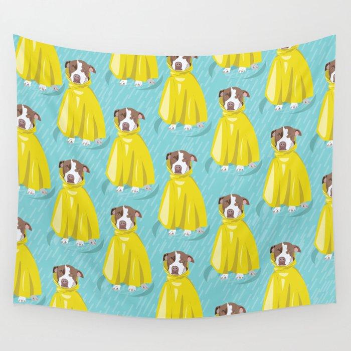 pit bull in rain coat Wall Tapestry