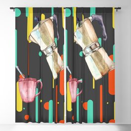 Coffee Pop Art Collage Good Morning Blackout Curtain
