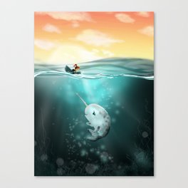 Narwhal meets Girl Canvas Print