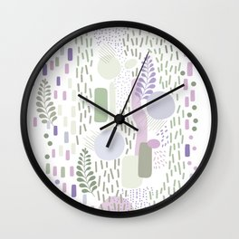 Close to Nature - Simple Doodle Pattern 1 #handdrawn #pattern #nature Wall Clock