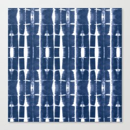 Shibori Stripes 3 Indigo Blue Canvas Print