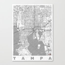Tampa Map Line Canvas Print