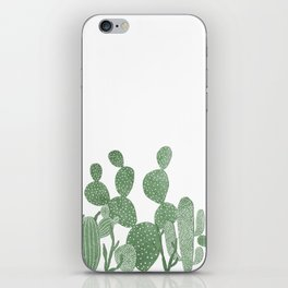 Green cactus garden on white iPhone Skin