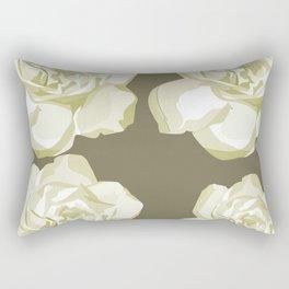 Brown,White Roses Rectangular Pillow