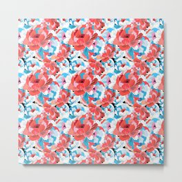 Beautiful vector illustration pattern of colorful flowers Metal Print