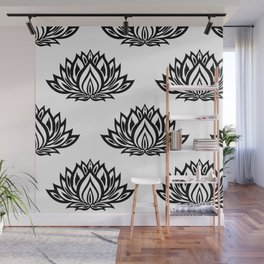 Black and White Lotus Pattern Wall Mural