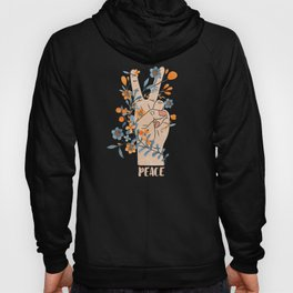 Peace Sign With Orange Flowers, Blue Flowers And Vines Hoody