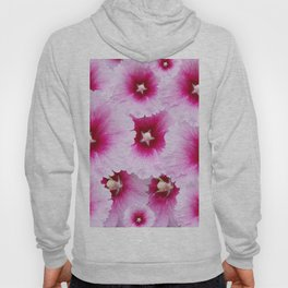 FUCHSIA-PINK HOLLYHOCK  FLOWER PATTERNS Hoody