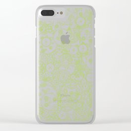 Clockwork Turquoise & Lime / Cogs and clockwork parts lineart pattern Clear iPhone Case