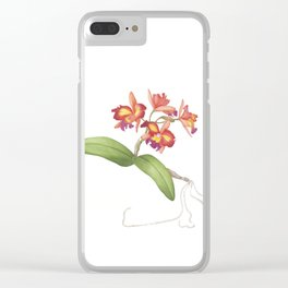 Red Orange Orchid Clear iPhone Case