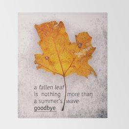 Autumn. Fallen leaf on dirty ice. Throw Blanket