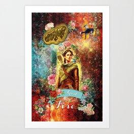 Katniss - Girl on Fire Art Print