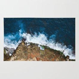 An aerial shot of the Salt Pans in Marsaskala Malta Rug