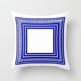 Blue and White Lines Geometric Abstract Pattern Throw Pillow