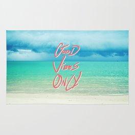 """Good Vibes Only""  Quote - Turquoise Tropical Sandy Beach Rug"