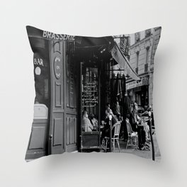 At the Brasserie Throw Pillow