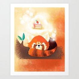 Red Panda & Cake Art Print