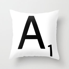 Letter A - Custom Scrabble Letter Wall Art - Scrabble A Throw Pillow