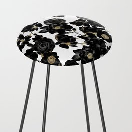 Modern Elegant Black White and Gold Floral Pattern Counter Stool
