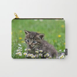 Kitty looking at flowers Carry-All Pouch