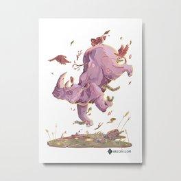 Floating Rhino Metal Print