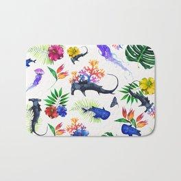 tropical shark pattern Bath Mat