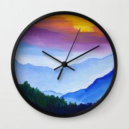 Smokey Mountain Sunset Wall Clock