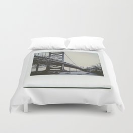 Ben Franklin Bridge Polaroid Duvet Cover