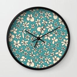 garland flowers blue Wall Clock