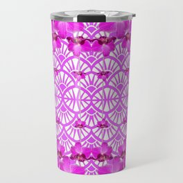 ABSTRACT PATTERNED PURPLE ART DECO  ORCHIDS Travel Mug