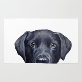 Labrador with white background Dog illustration original painting print Rug