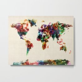 Map of the World Map Abstract Painting Metal Print