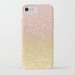 Modern rose gold glitter ombre gold glitter iPhone Case