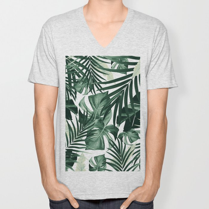 Tropical Jungle Leaves Pattern #4 #tropical #decor #art #society6 Unisex V-Neck